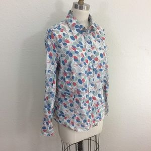 Boden White Blue Pink Gray Long Sleeve Shirt